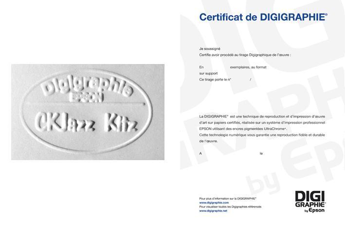 Vente : tampon sec Digigraphie et certificat d'authenticité